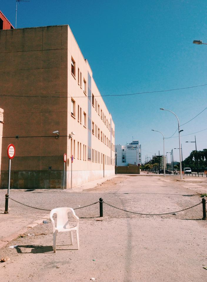 A White Plastic Chair in the Malvarrosa District of Valencia