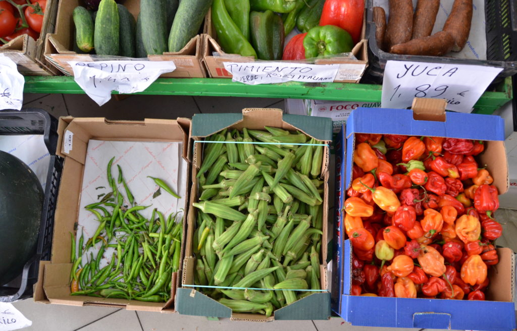 Scotch Bonnets, Green Chilis, Okra (Ladies' Fingers) and Yuca at Parvenn Akter