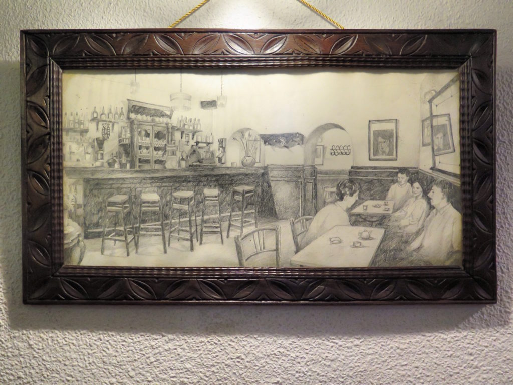 A pencil drawing by a local punter: Ajenjo Café in full swing