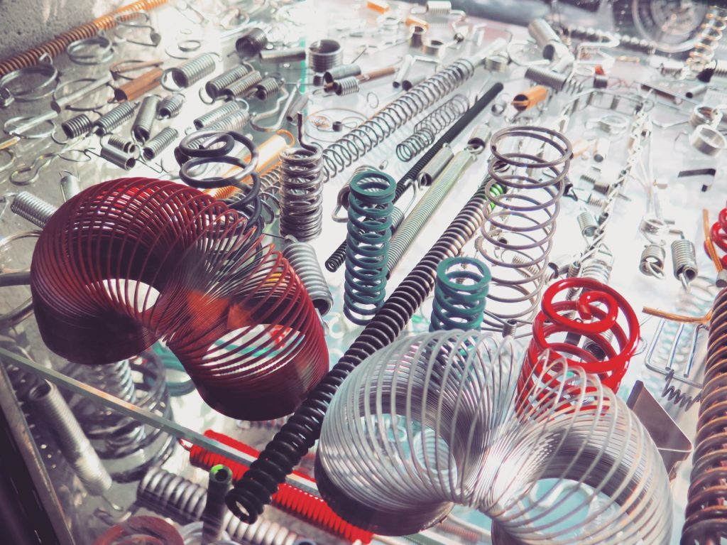 A display of springs in the window