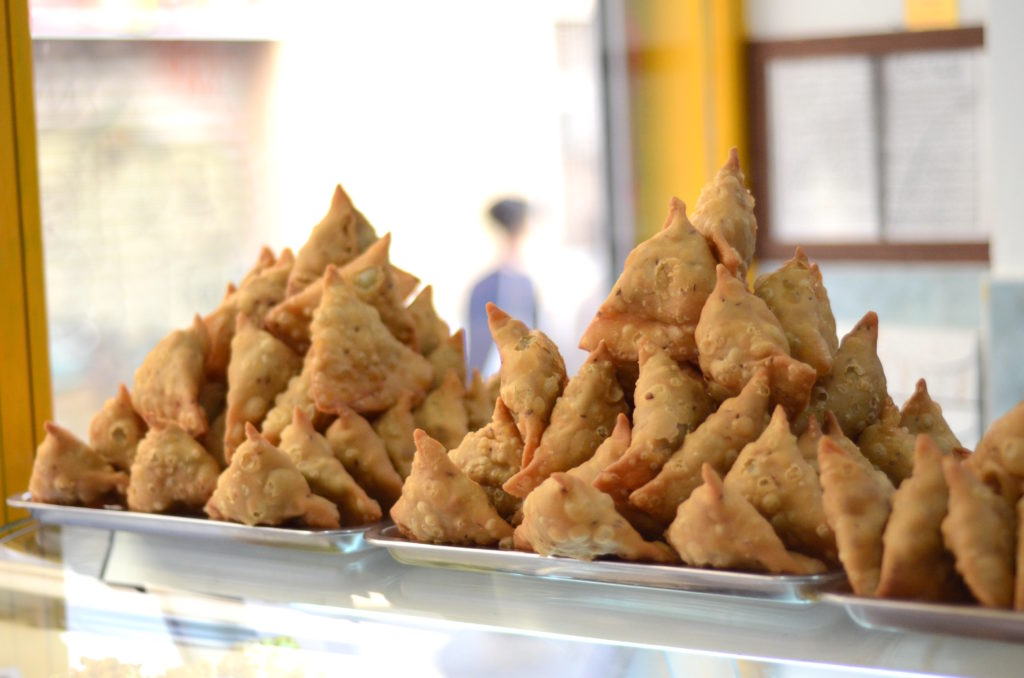 Veg, chicken and meat samosas
