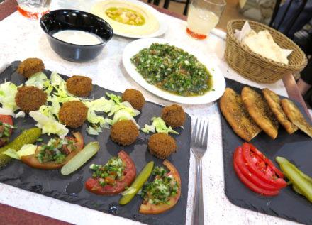 Falafel + Tahini dip, Tabbouleh, Manakish and Hummus