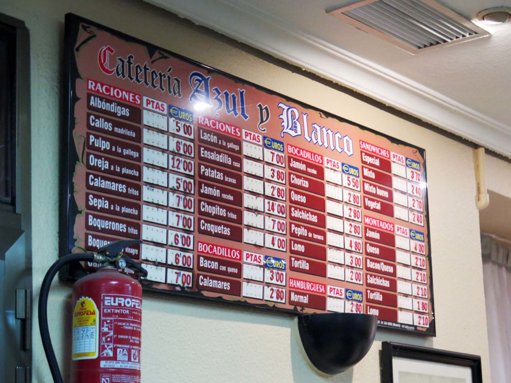 A classic Spanish menu serving hot and cold food