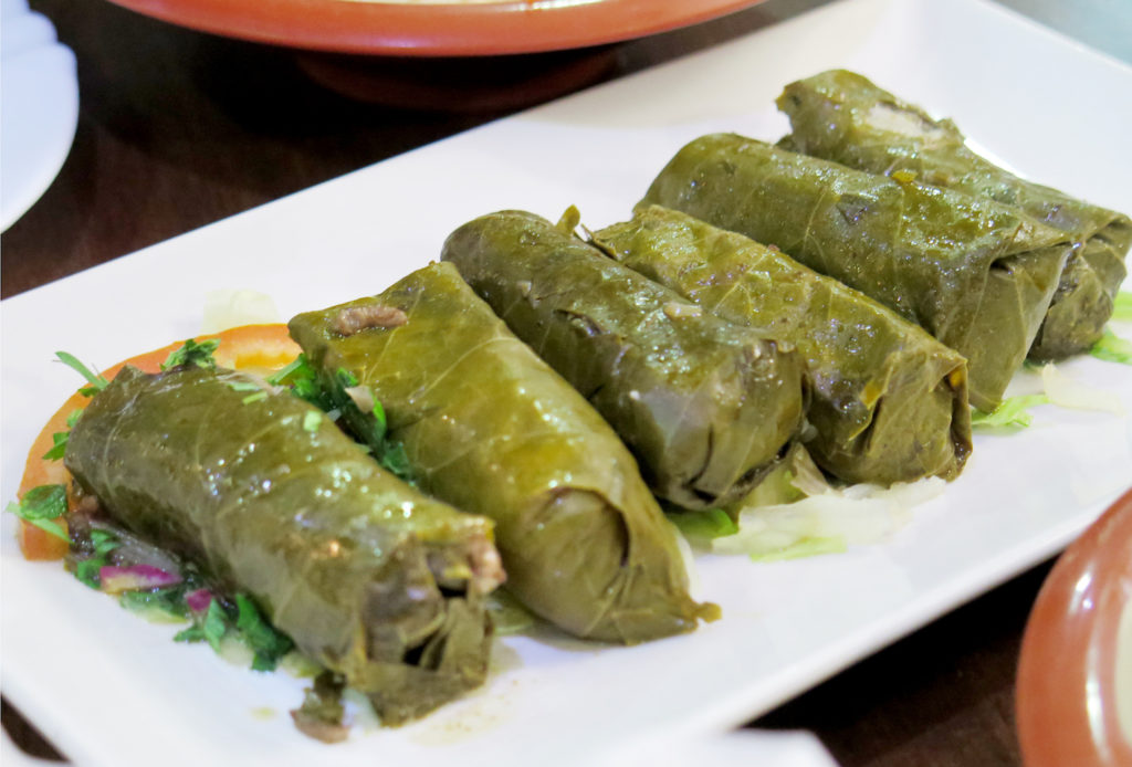 Warak Inab (stuffed vine leaves)