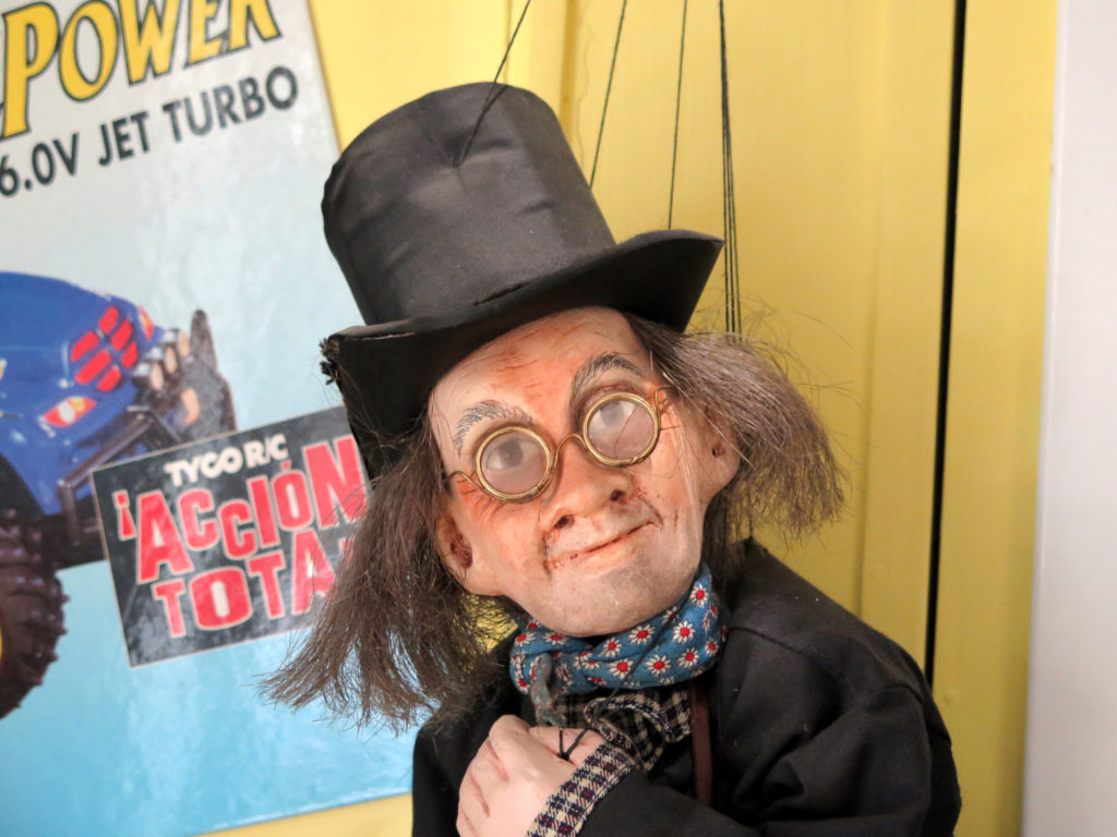 A close-up of one of the Prague puppets