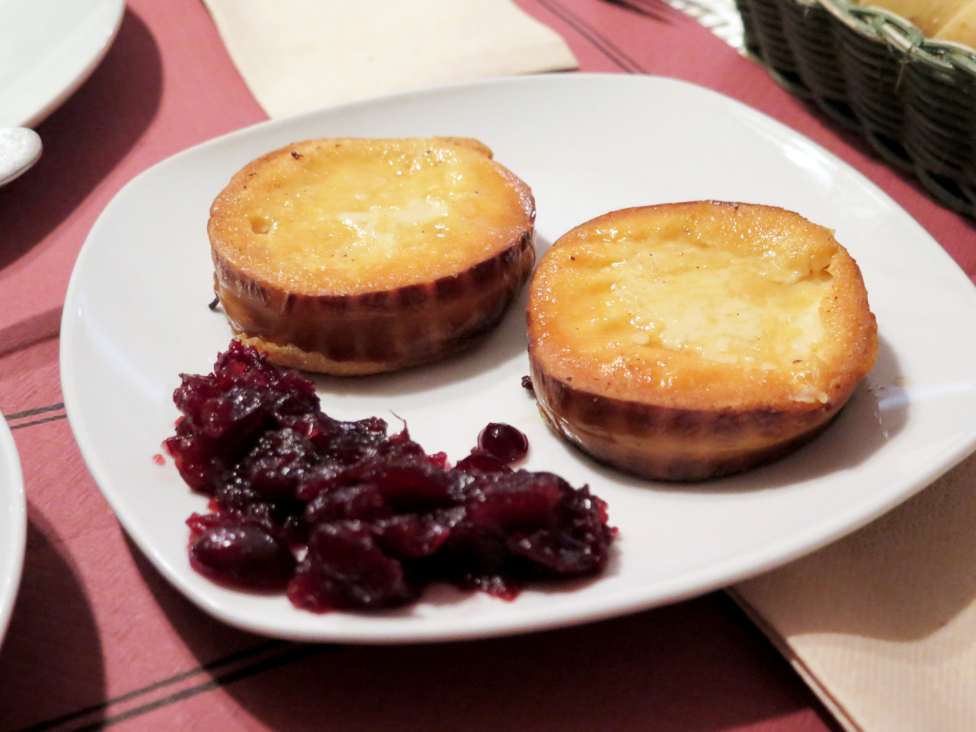 Fried smoked Polish cheese with cranberries