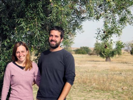 Guille and Laura under an ancient olive tree