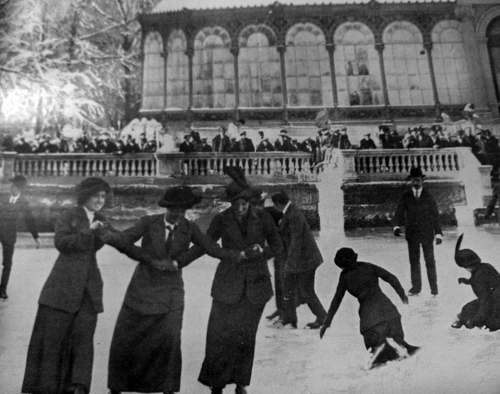 Skating on the lake outside the Crystal Palace, 1800s