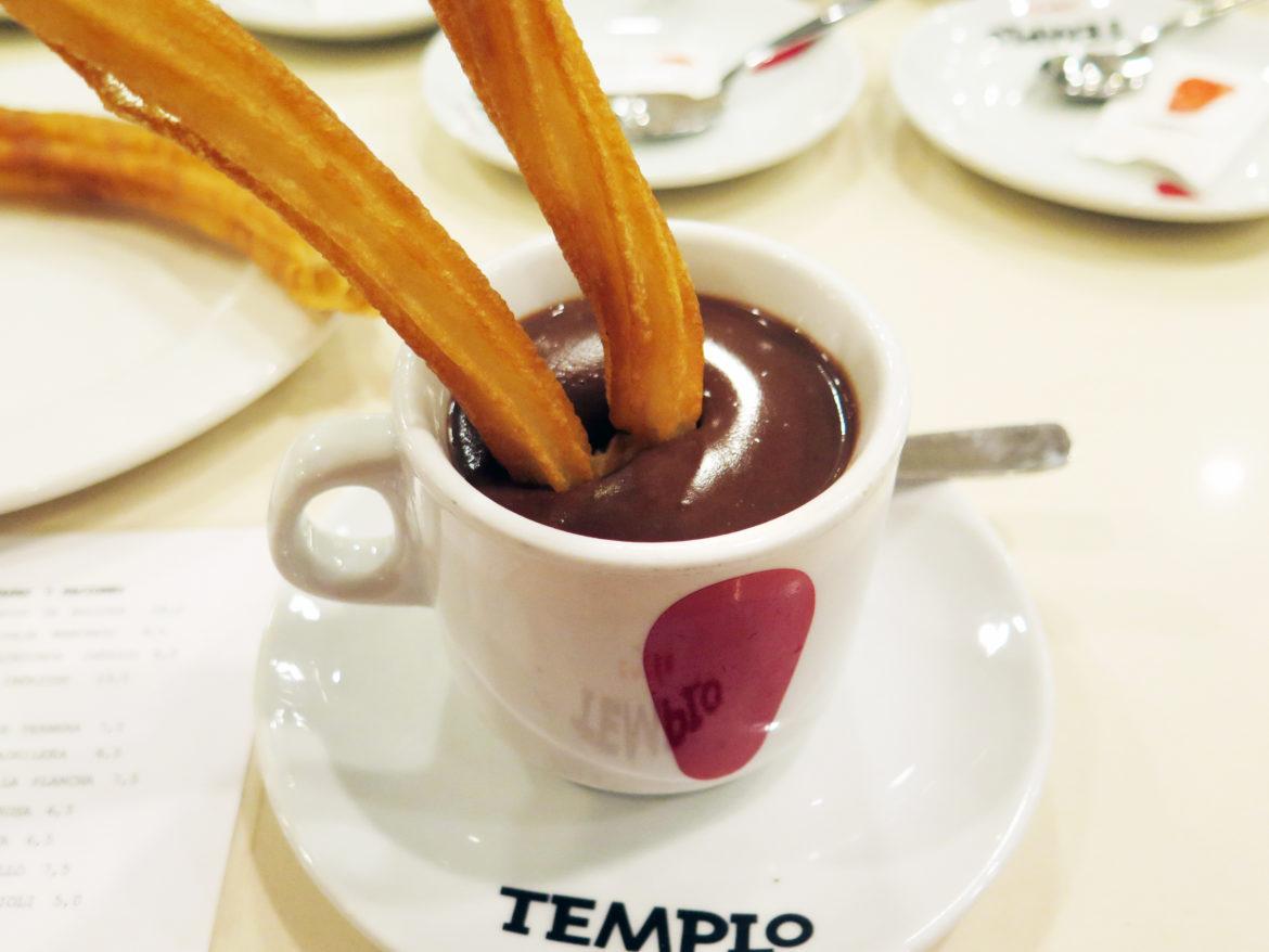 Thick, dark chocolate and hot, crispy churros