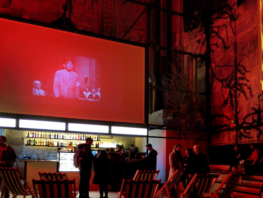 The large bar area projecting vintage films