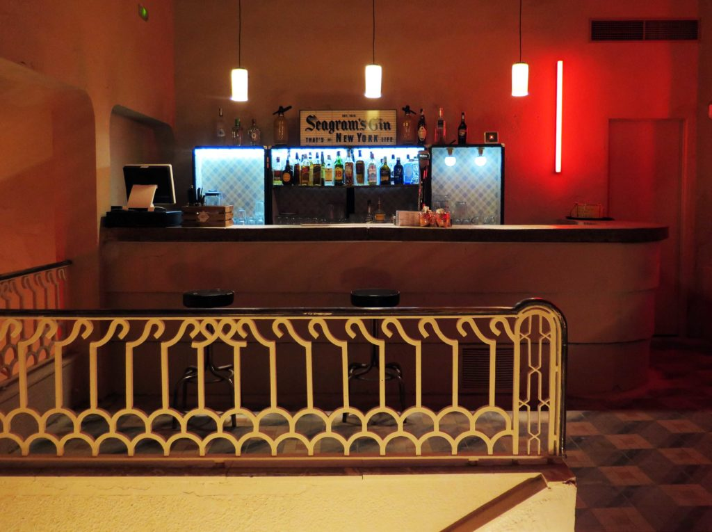 Inside the mezzanine bar