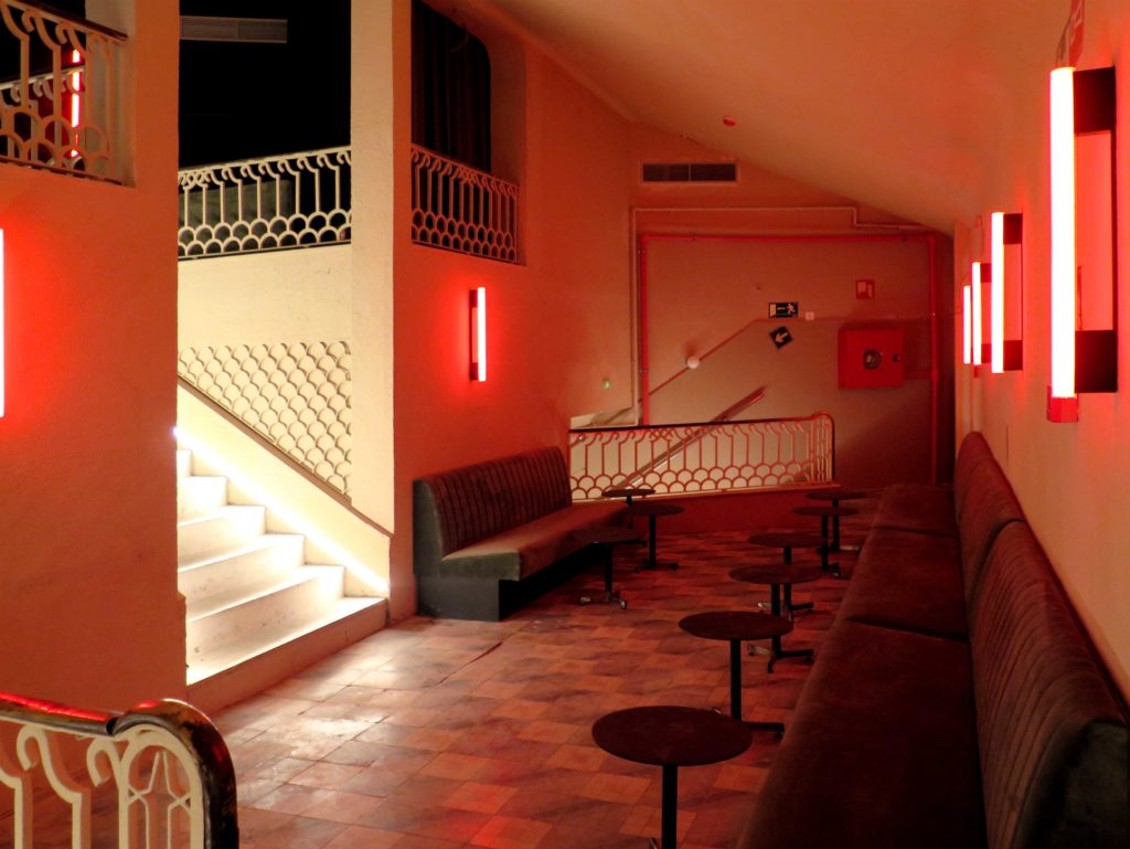 The mezzanine bar with its original tiled floor
