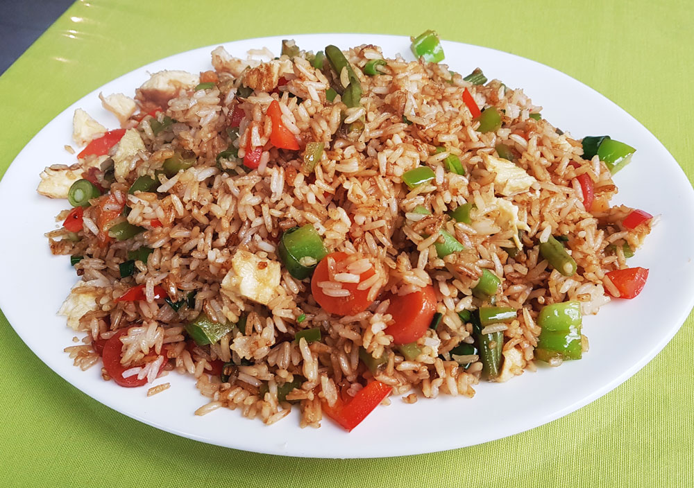 Arroz Chaufa, egg-fried rice with vegetables and optional meat