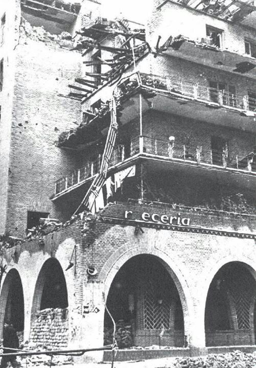 War damage to a neighbouring building
