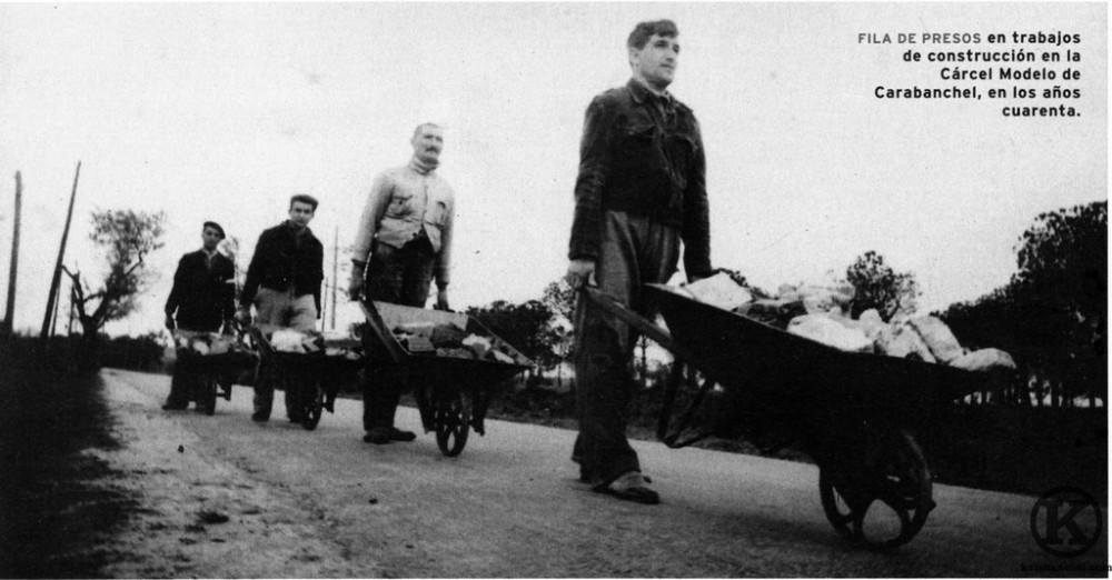Prisoners bringing in raw materials for the construction of their own prison, 1940