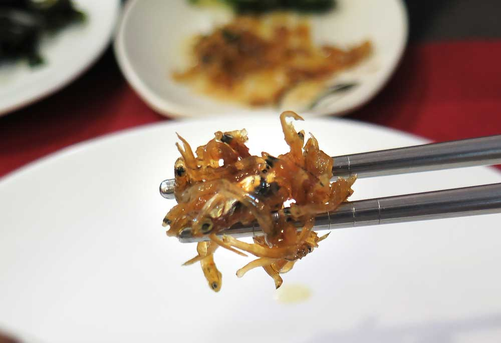 Tiny dried, fried fish entree