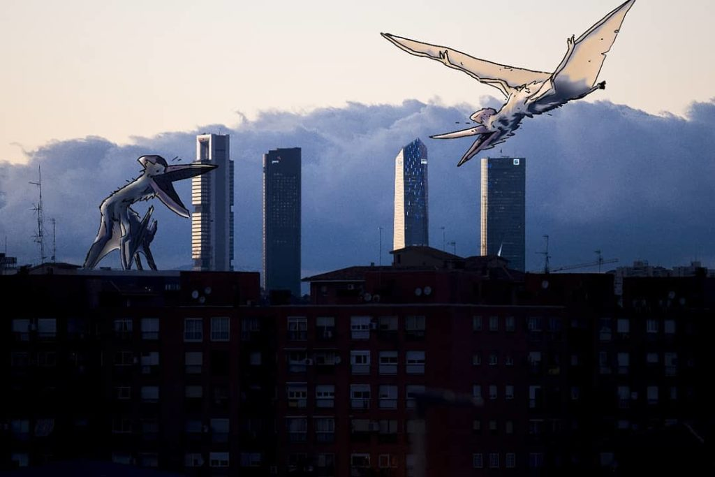 Fighting dinosaurs by Madrid's skyscrapers