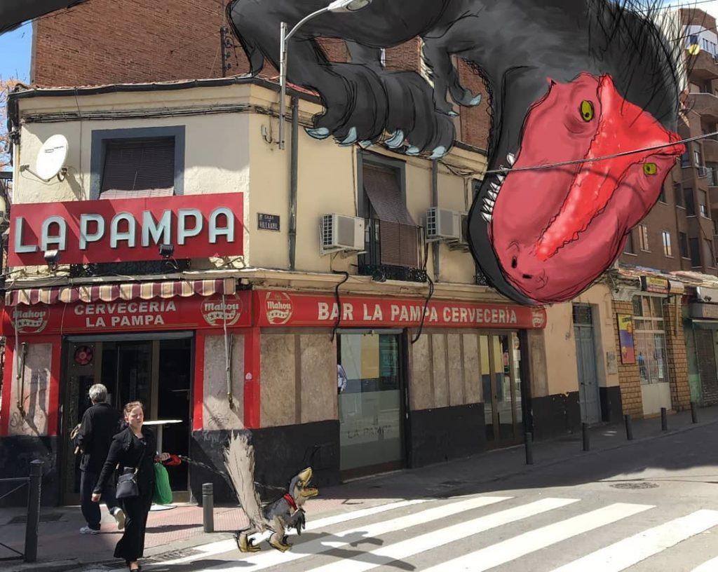A t-rex hunting on a no-frills bar