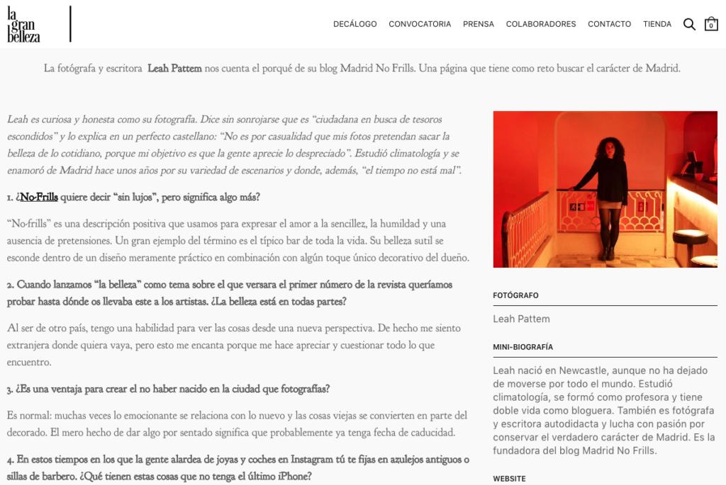 Interview in Spanish with La Gran Belleza