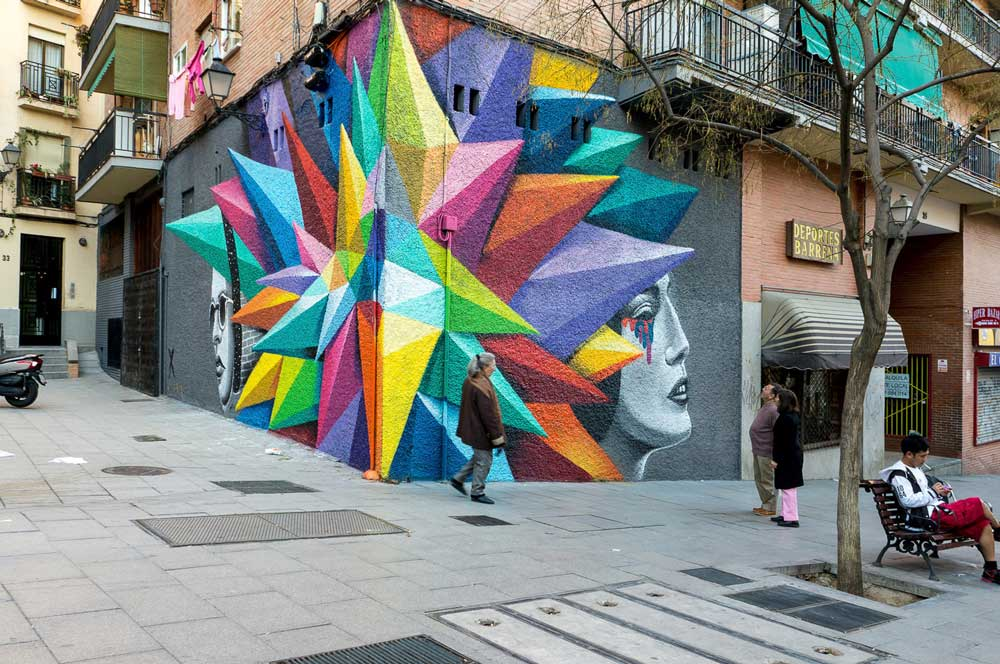 Okuda's street art on Calle Embajadores