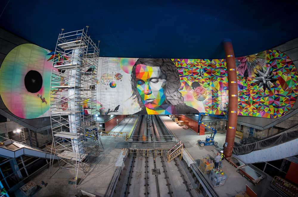 Rosh333 and Okuda's mural of Paco de Lucia