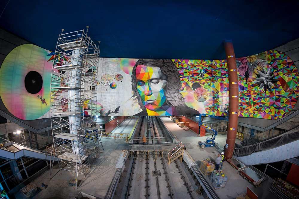 Rosh333 and Okuda's mural of Paco de Lucia