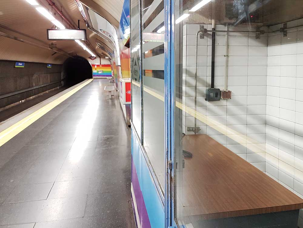 An old office cabin inside Chueca metro station