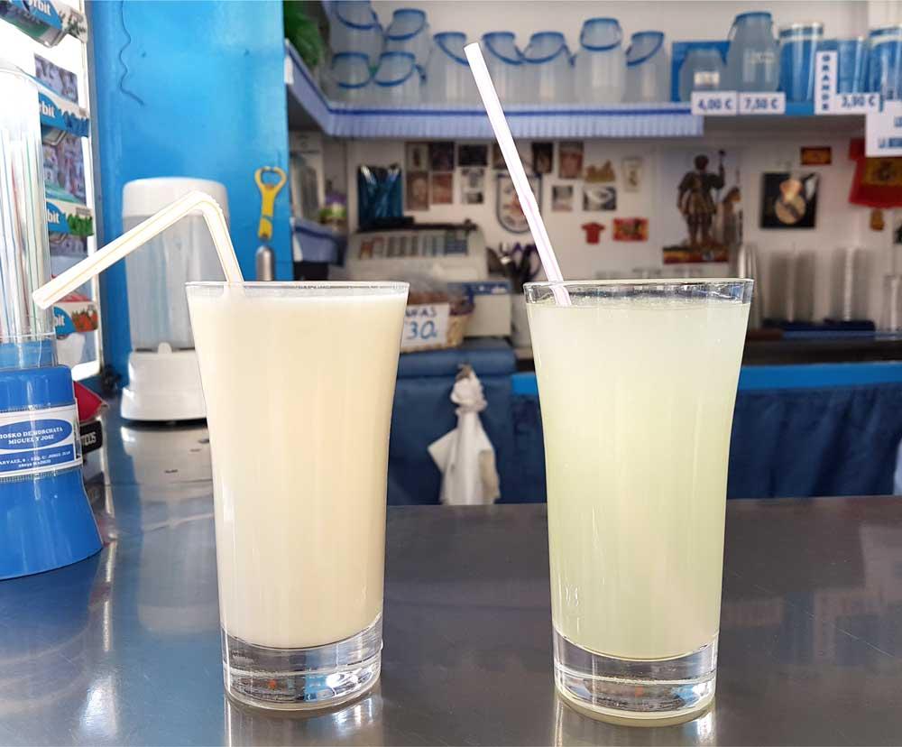 Left: Horchata de chufa; right: Limon granizado