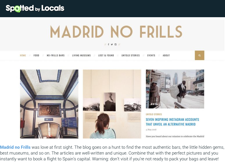 """Madrid's Best Blogs 2018"" in Spotted By Locals"