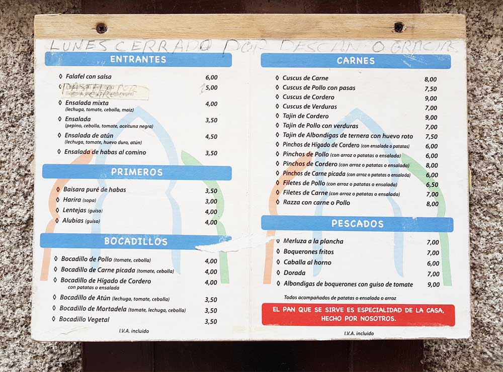 The no-frills menu