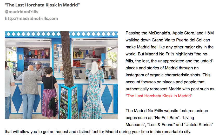 Chosen as #1 Best Instagram Blog about Madrid by GuidePost