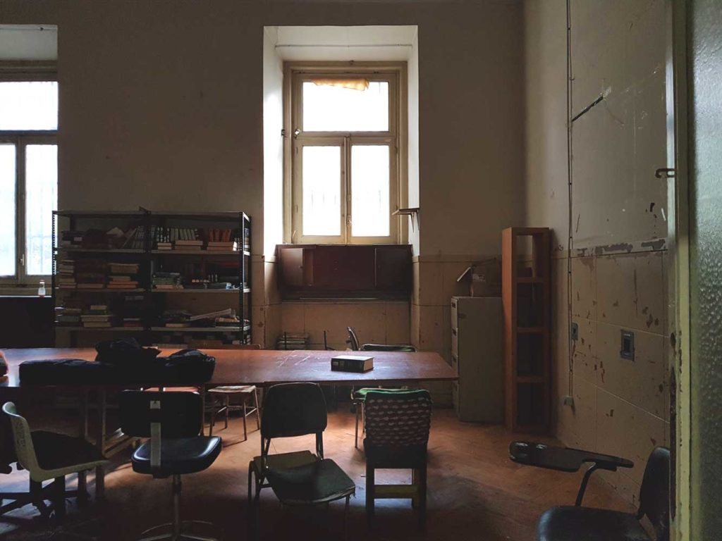 Inside a classroom that was one the boss's office