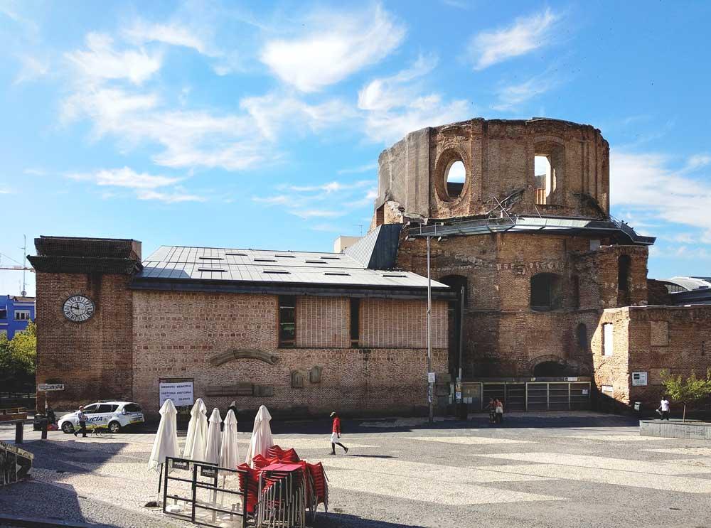 The burnt-out church on Plaza Arturo Barea