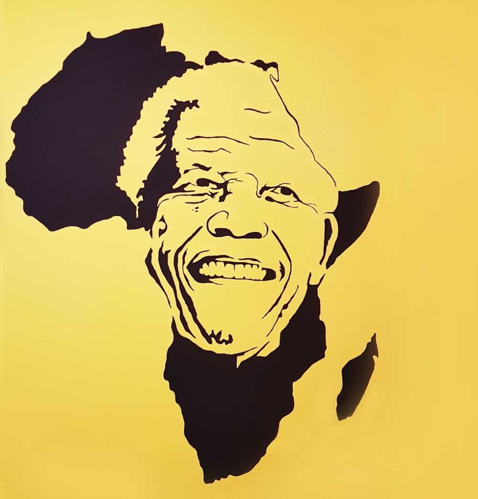 A painting of Nelson Mandela on the back wall
