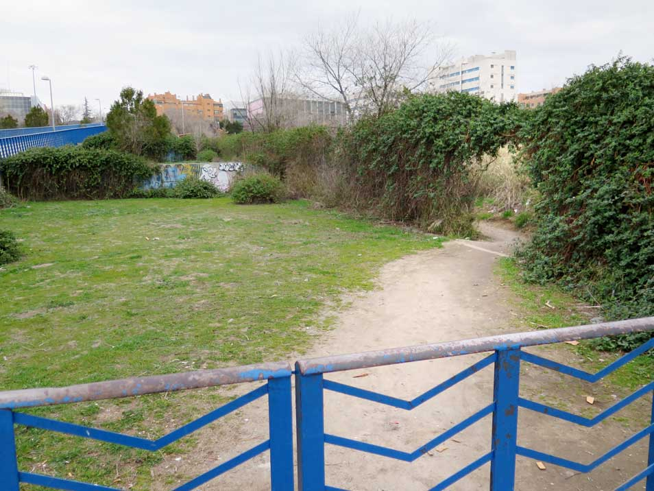 A well-trodden path, but with a fenced-off entrance