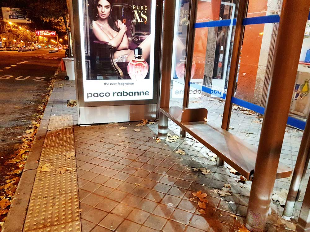 A bus shelter by Atocha
