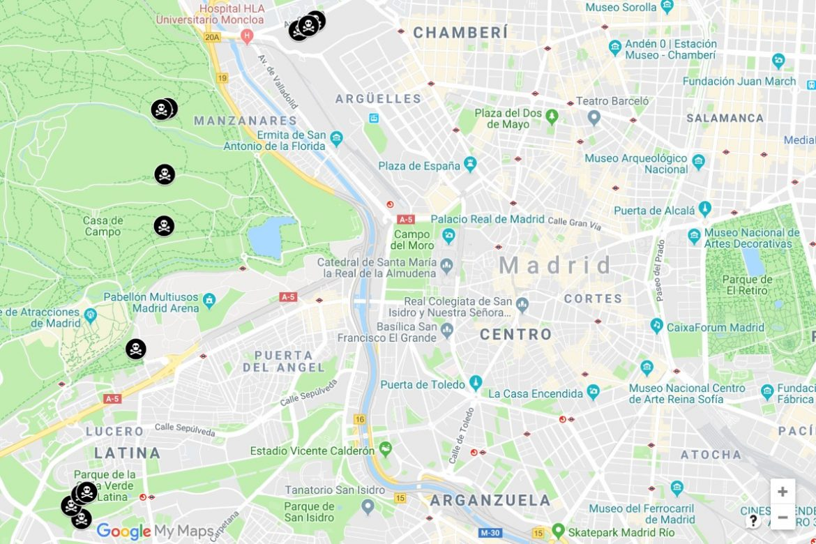 Map Of Fires In Spain 2017.Haunting Map Of Madrid S Forgotten Bunkers Reveals Western Front